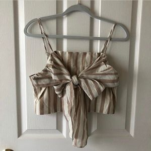 Beige Striped Bow Front Crop Top